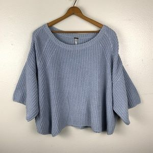 Free People Chunky Blue Short Sleeved Sweater